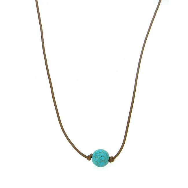 CKZ161009-06 BRN  ONE-TQ BEADS, HAND KNOTTED, LEATHER CHOKER