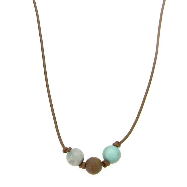 CKZ161009-05 BRN  ONE-AMAZONITE STONE, HAND KNOTTED, LEATHER CHOKER