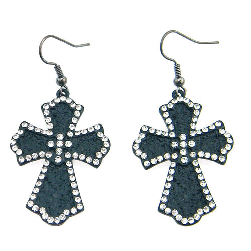 ER0-0705-23 Metal Cross Earring With Rhinestones