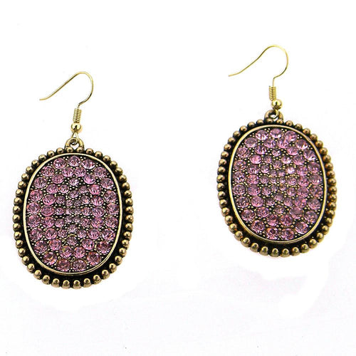 ER161229-01 G/PNK  ALL CRYSTAL PLATE EARRING