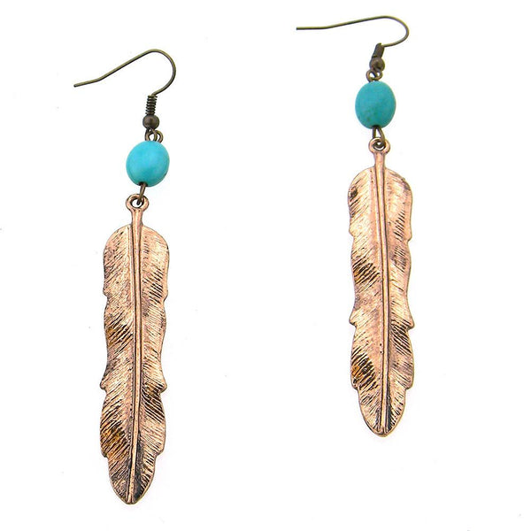 ERS150216-01 COP   Feather Earring W/TQ Beads on Top