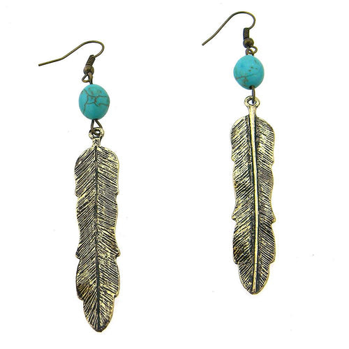 ERS150216-01 BRS Feather Earring W/TQ Beads on Top