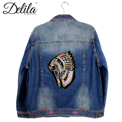 JJK-601  Delila Hand Embroidered Jacket Indian Chief Collection Denim-Size S