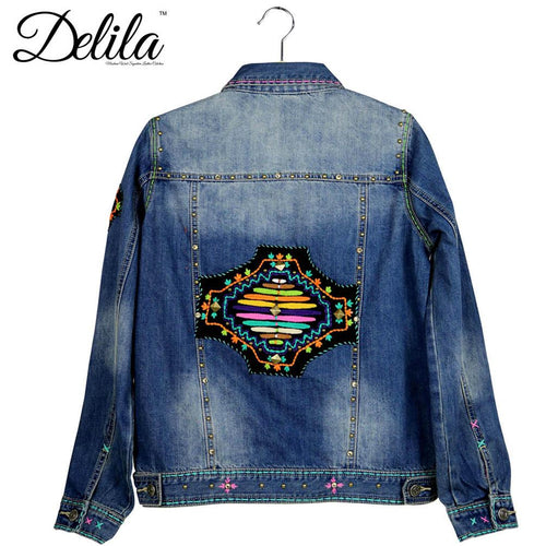 JJK-605  Delila Hand Embroidered Jacket Aztec Collection Denim-Size M