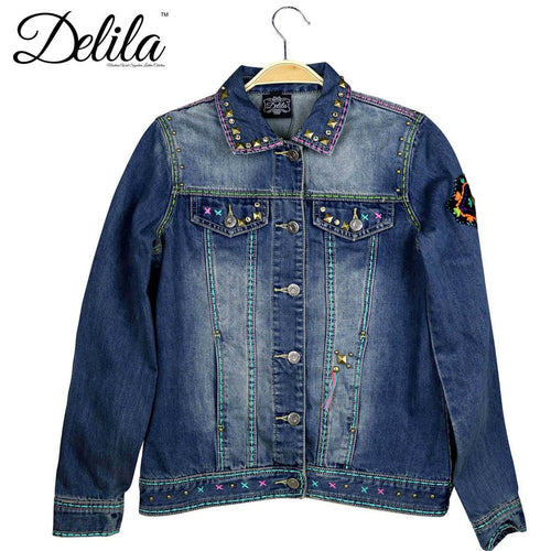 JJK-605  Delila Hand Embroidered Jacket Aztec Collection Denim-Size L