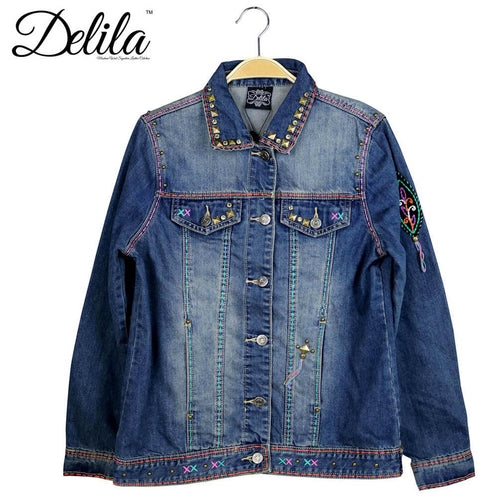 JJK-606  Delila Hand Embroidered Jacket Cross Collection Denim-Size M
