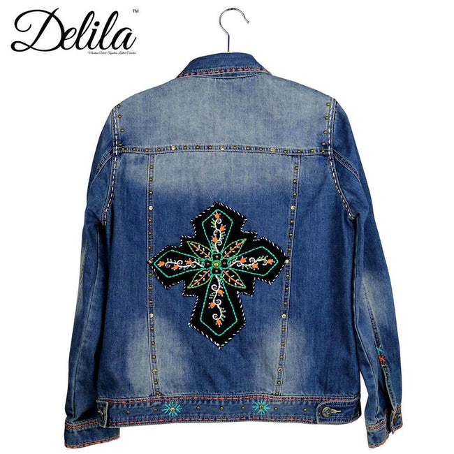 JJK-607  Delila Hand Embroidered Jacket Floral Medallion Collection Denim-Size M