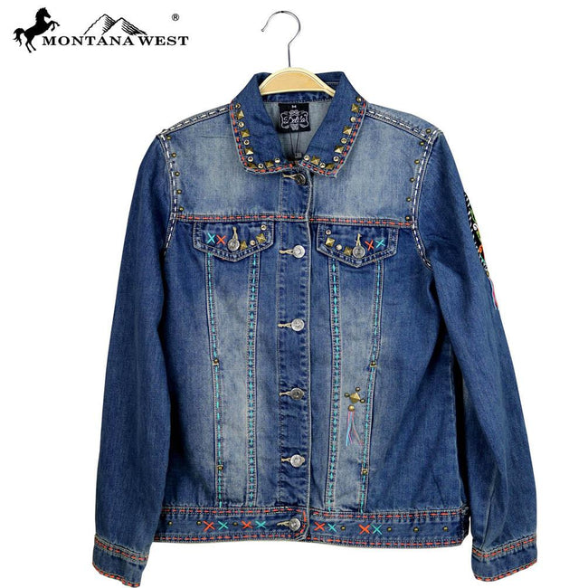 JJK-607  Delila Hand Embroidered Jacket Floral Medallion Collection Denim-Size S