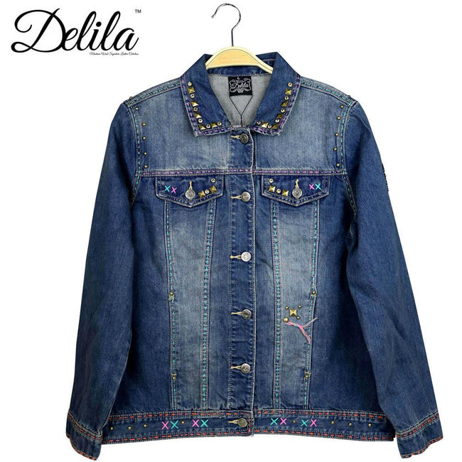 JJK-609  Delila Hand Embroidered Jacket Longhorn Collection Denim-Size M
