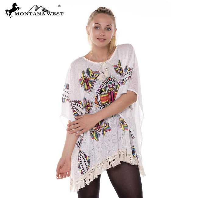 JP381 Ladies Burnout Tribal Print Tunic Poncho with Tassel
