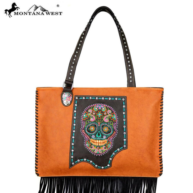 MW480-8015  Montana West Sugar Skull Collection Wide Tote