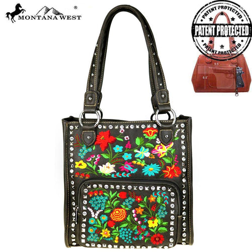MW493G-8394 Montana West Embroidered Collection Concealed Handgun Tote