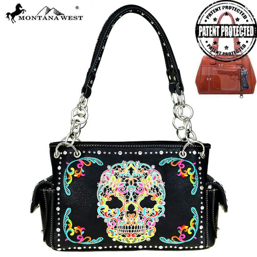 MW494G-8085 Montana West Sugar Skull Collection Concealed Handgun Satchel