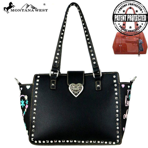 "MW505G-8250 Montana West Heart Collection ""I Love Mom""Concealed Handgun Trapezoid Tote"