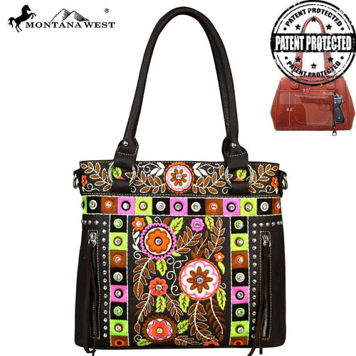 MW552G-8263 Montana West Embroidered Collection Concealed Handgun Tote/Crossbody