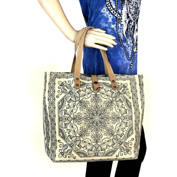 MW564-9317 Montana West Aztec Collection Dual Sided Print Canvas Fabric Tote