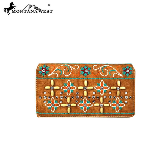 MW577-W010 Montana West Embroidered Collection Secretary Style Wallet
