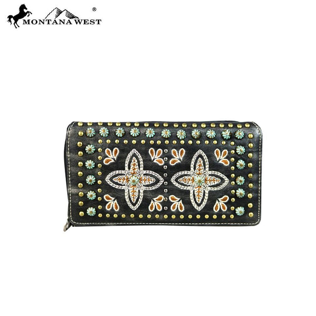 MW579-W010 Montana West Embroidered Collection Secretary Style Wallet