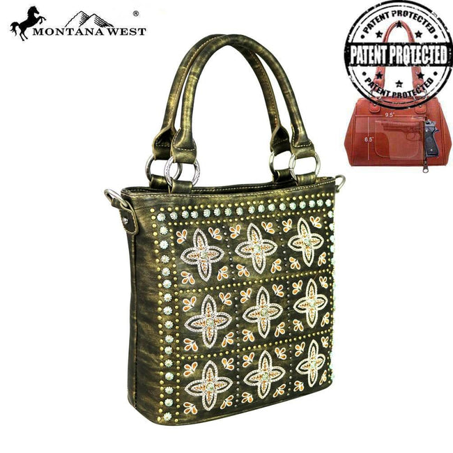 MW579G-8461 Montana West Embroidered Collection Concealed Handgun Tote/Crossbody