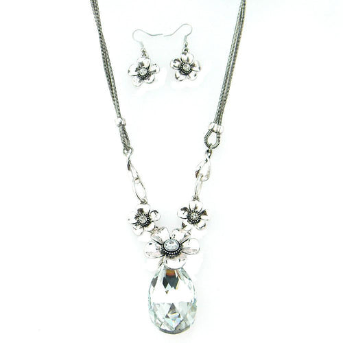 N1984   BIG TEAR DROP CRYSTAL/ FLOWER NECKLACE, EARRING SET