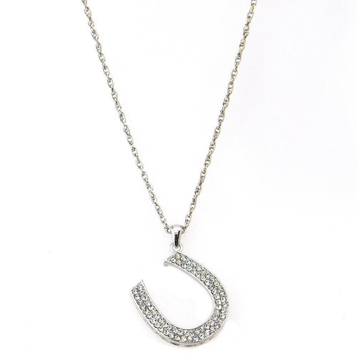 NKB101120   HORSE SHOE PENDANT CRYSTAL NECKLACE