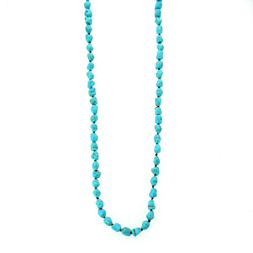 NKS160109-02 T   TQ NUGGETS HAND KNOTTED LONG NECKLACE