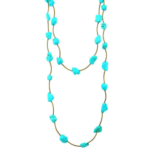 NKS170312-01 G  CHUNKY TQ NUGGETS, CURVED HOSE LINKED LONG NECKLACE