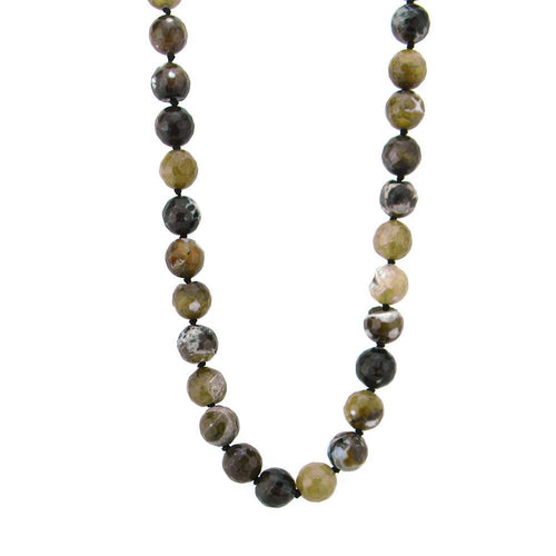 NKY161216-11  12MM FACECUTTING JASPER HAND-KNOTTED, HALF SUEDE CORD LONG NECKLACE