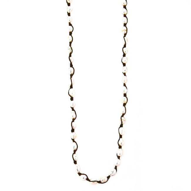 NKZ161112-01 LBRN  FRESH WATER PEARL CROCHED LONG NECKLACE