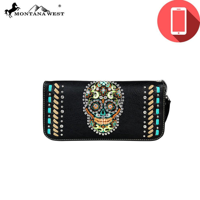 PW459-W016 Montana West Phone Charging Sugar Skull Collection Clutch Wristlet