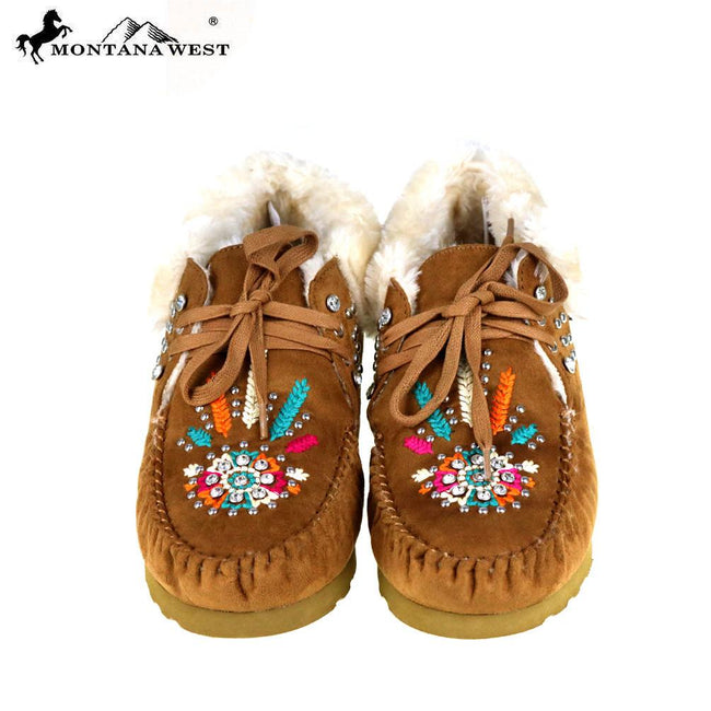 SBT-010  Montana West Moccasins Embroidered Collection-Brown