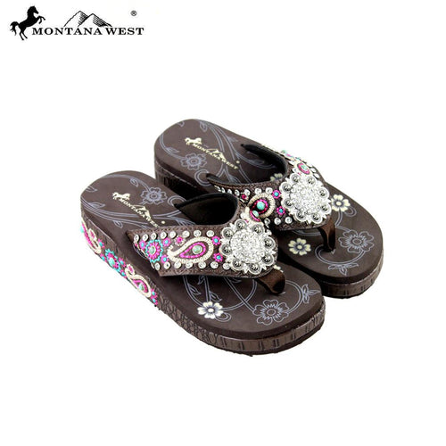 SE27-S001 Montana West Embroidered Flip-Flops Collection -Coffee-Size 8