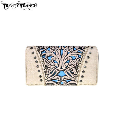 TR38-W010 Trinity Ranch Tooled Design Collection Secretary Style Wallet