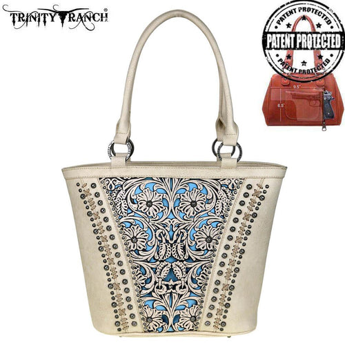 TR38G-8317 Trinity Ranch Tooled Leather Collection Concealed Handgun Tote