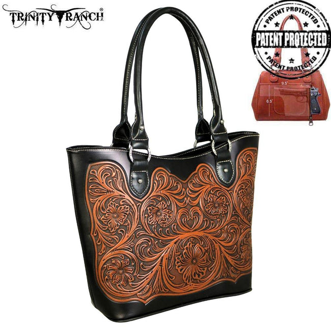 TR42G-8304 Trinity Ranch Tooled Leather Collection Concealed Handgun Tote -Hot Pink