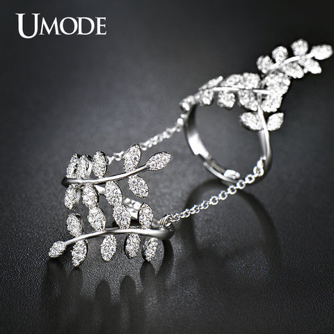 Micro Cubic Zirconia Tree Branch Shaped Full Finger Ring