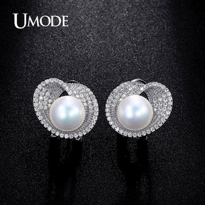 10mm Shell Powder Synthetic Pear White Gold Plated Stud Earrings