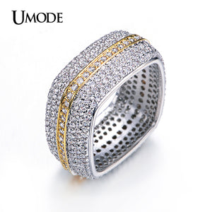 Square Wedding Band Two Tone Gold Plated Luxury Eternity Rings For Women