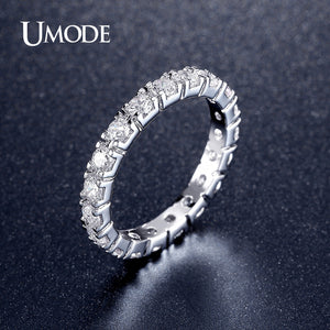 Engagement Rings for Women Fashion White Gold Plated Eternity Rings Top CZ