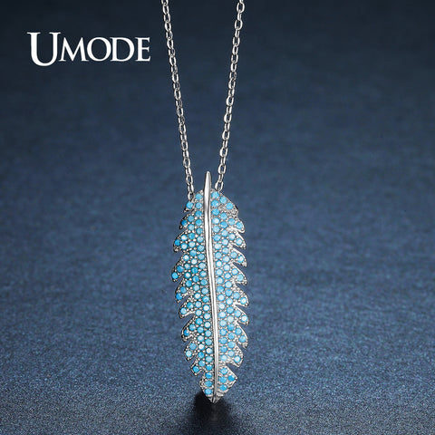 Cute Fashion Long Leaf Lake Blue CZ Stone Feather Necklaces