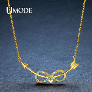 Lake Blue Infinity Curved Cupid's Arrow Heart Pendant Necklaces for Women