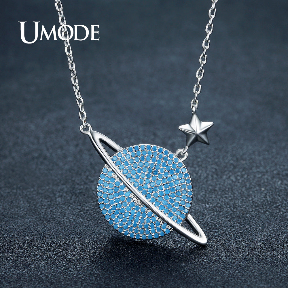Round Lake Blue Crystal Planet Star Necklace for Women White Gold Plated