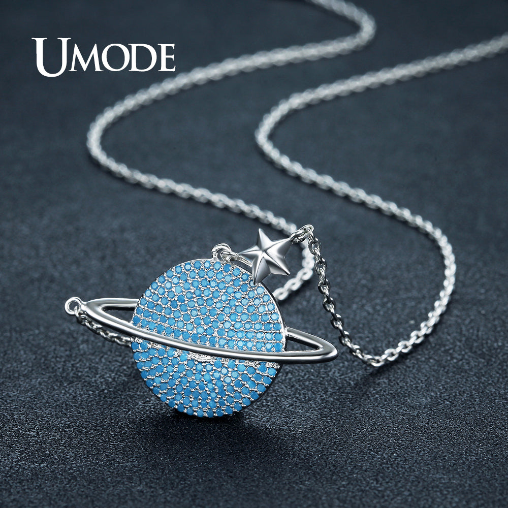 Round lake blue crystal planet star necklace for women white gold round lake blue crystal planet star necklace for women white gold plated aloadofball Images