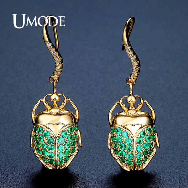 Cute Party Jewelry Green Cubic Zirconia Gold Plated Beetle Drop Earrings