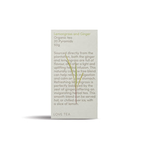 Lemongrass and Ginger Organic Tea 20 pyramids 50g - Heart Of Hall