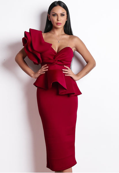 Red Ankle Length Cocktail Dress - Jazmine & Yazmine Designer Boutique