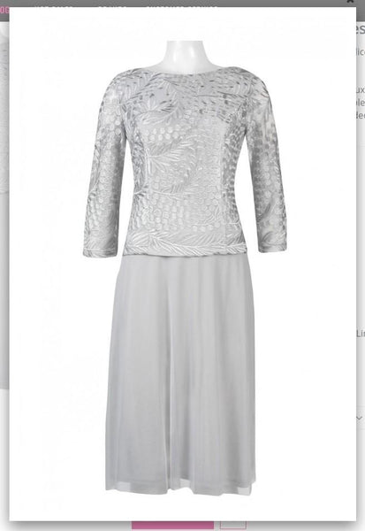 Alex Evenings 217197 Boat Neck Long Sleeve Embroidered Dress