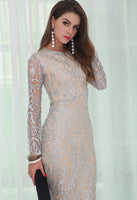 Silver Glitter Evening Dress - Jazmine & Yazmine Designer Boutique