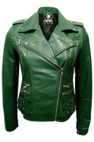 Women Green Brando Leather Jacket - Jazmine & Yazmine Designer Boutique