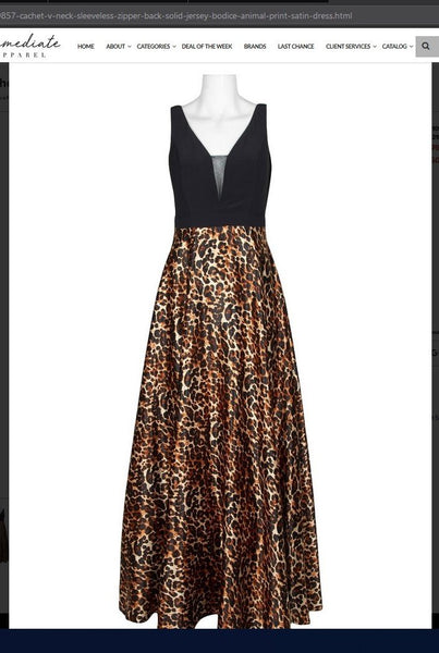 Cachet 59857  V-Neck Sleeveless Zipper Back Solid Jersey Bodice Animal Print Satin Dress